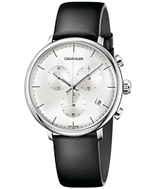 Calvin Klein Men's Swiss Chronograph High Noon Black Leather Strap Watch 40mm