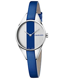Women's Swiss Rebel Blue Leather Strap Watch 29mm
