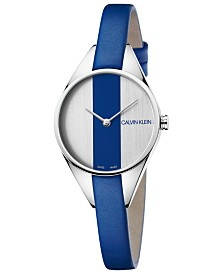 Calvin Klein Women's Swiss Rebel Blue Leather Strap Watch 29mm