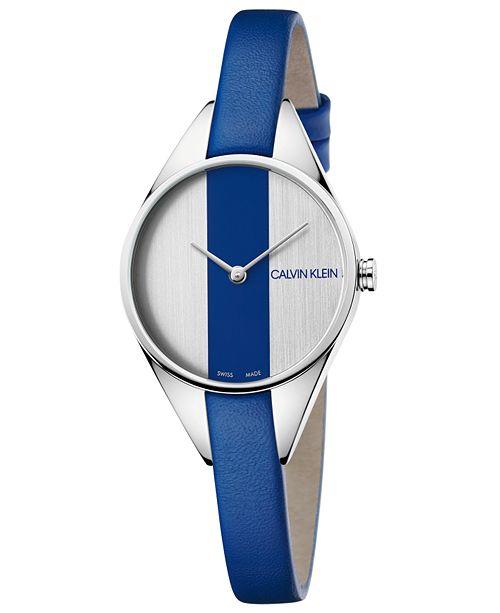 Calvin Klein Women's Swiss Rebel Blue Leather Strap Watch 29mm