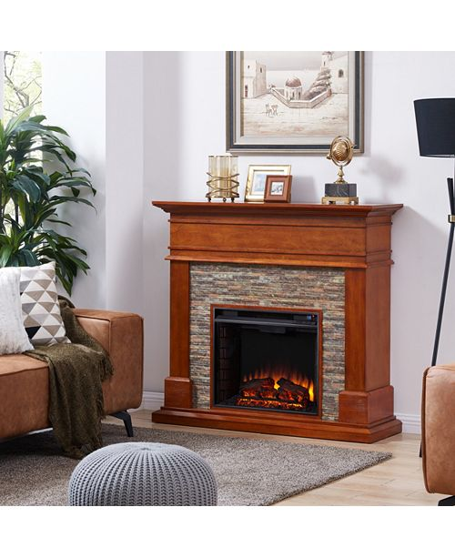 Southern Enterprises Tennille Faux Stone Fireplace Lighting