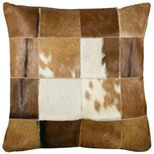 """Rizzy Home 18"""" x 18"""" Hair on Hide Squares Pillow Cover"""