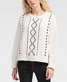 DKNY Faux-Leather Cable-Knit Sweater