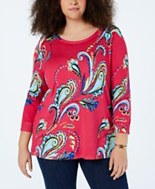 Joseph A Plus Size Paisley-Knit Tunic Sweater