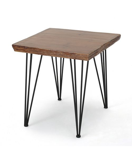 Noble House Chana Faux Live Edge Square Dining Table, Quick Ship