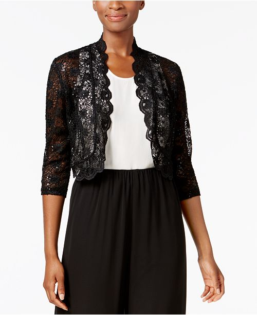 R & M Richards R&M Richards Scalloped Sequin Lace Bolero