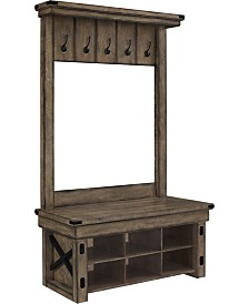 Ameriwood Home Broadmore Entryway Hall Tree With Storage Bench
