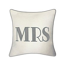 """Celebrations Pillow Embroidered Appliqued """"Mrs"""""""