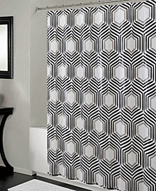 Shower Curtain & Clear Hexagon Design