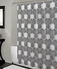 Bath Bliss Shower Curtain & Clear Hexagon Design