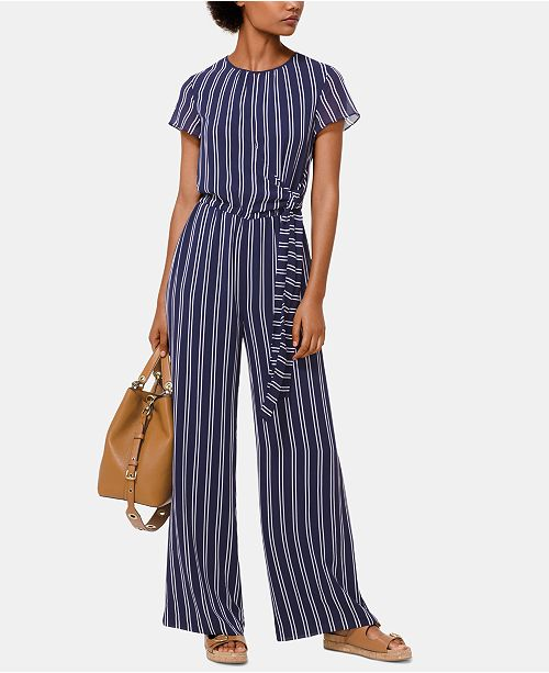 d154a64e0c9a ... Michael Kors Striped Tie-Waist Jumpsuit
