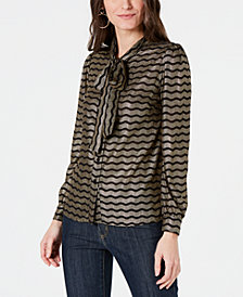 MICHAEL Michael Kors Tie-Neck Blouse, Regular & Petite