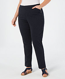 Charter Club Plus Size Striped Pull-On Pants, Created for Macy's