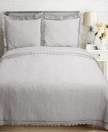 Sleeping Partners Crochet Bordered Embroidered 3 Piece Quilt Set