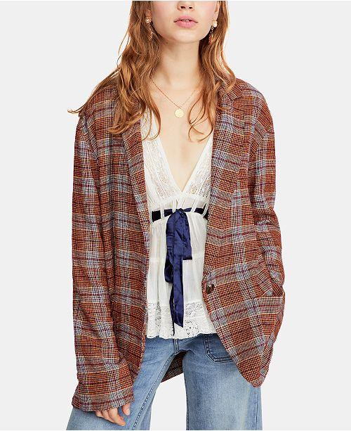 Free People Menswear-Inspired Slouchy Plaid Blazer