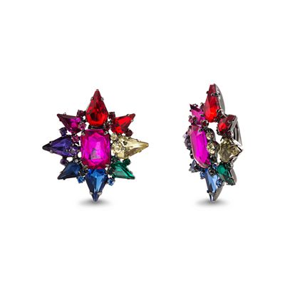 Steve Madden Rainbow Star Shape Stone Clip Earring Fashion Jewelry