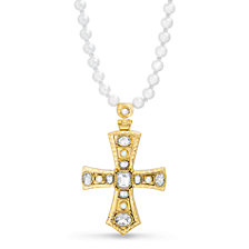 Steve Madden Stone Cross Beaded Necklace