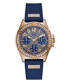 Guess Women's Blue Silicone Glitz Watch  40MM, Created for Macy's