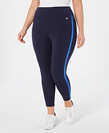 Tommy Hilfiger Plus Size Striped High-Rise Leggings