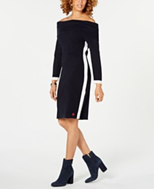 Tommy Hilfiger Off-The-Shoulder Sweater Dress, Created for Macy's