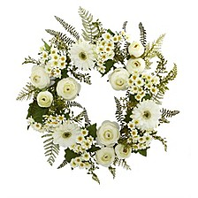 """24"""" Mixed Daisies and Ranunculus Wreath"""