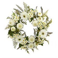 """Nearly Natural 24"""" Mixed Daisies and Ranunculus Wreath"""
