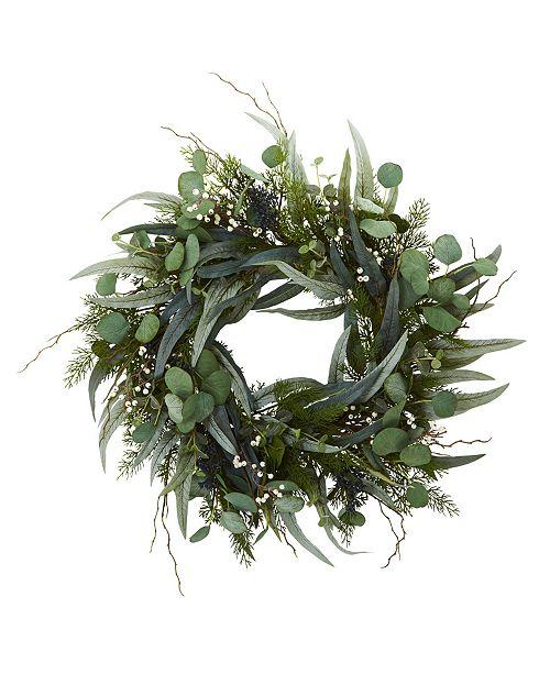 "Nearly Natural 24"" Eucalyptus & Mixed Greens Artificial Wreath"