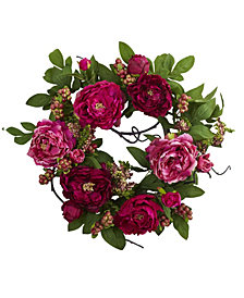 "Nearly Natural 20"" Peony and Berry Wreath"