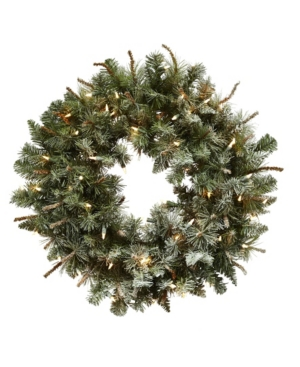 """Nearly Natural 30"""" Lighted Frosted Pine Wreath"""