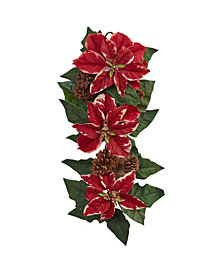 """Nearly Natural 25"""" Poinsettia, Pine Cone and Burlap Teardrop"""