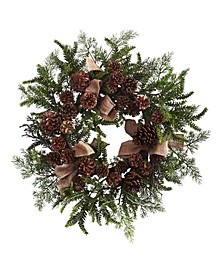 """24"""" Pine and Pine Cone Wreath w/ Burlap Bows"""