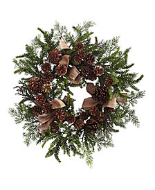"Nearly Natural 24"" Pine and Pine Cone Wreath w/ Burlap Bows"