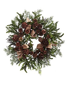 """Nearly Natural 24"""" Pine and Pine Cone Wreath w/ Burlap Bows"""