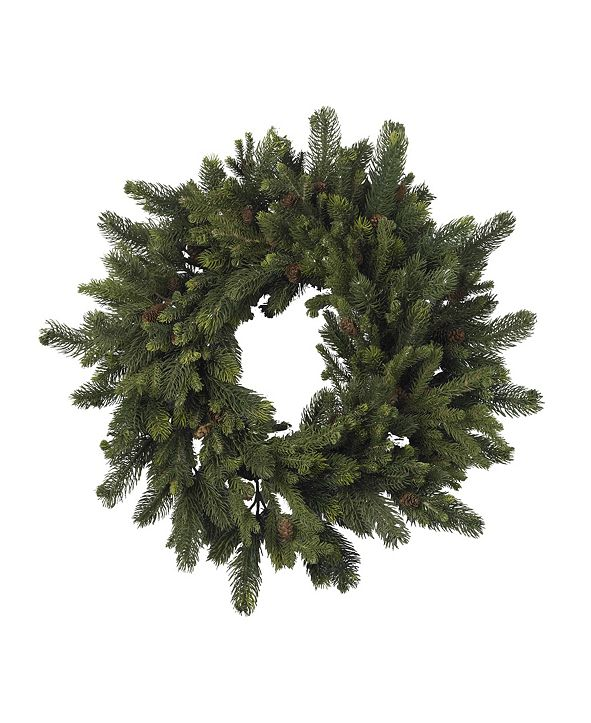 "Nearly Natural 30"" Pine and Pinecone Wreath"