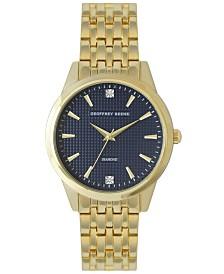 Geoffrey Beene Navy Embossed Dial Genuine Diamond Bracelet Watch