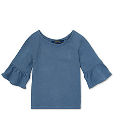 Polo Ralph Lauren Little Girls Ruffle-Sleeve Cotton Top