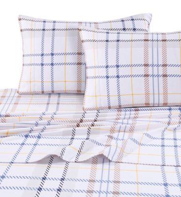 Modern Plaid Luxury Extra Deep Pocket Flannel King Sheet Set