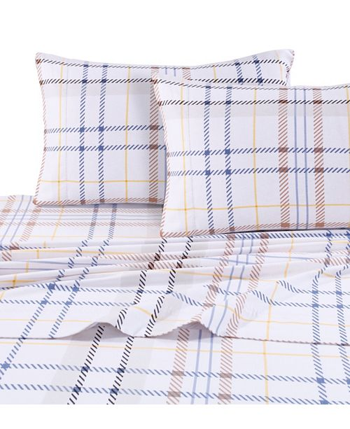 Tribeca Living Modern Plaid Luxury Extra Deep Pocket Flannel Sheet Set