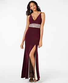 Xscape Beaded Plunge Gown