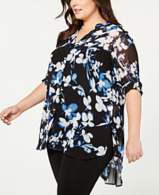 Calvin Klein Plus Size Printed Button-Front High-Low Shirt