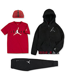 Jordan Big Boys Air Cap, Zip-Front Hoodie, Graphic-Print T-Shirt & Jogger Pants