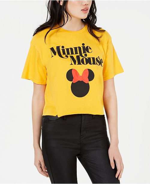 Mighty Fine Juniors' Disney Minnie Mouse Cropped Graphic T-Shirt