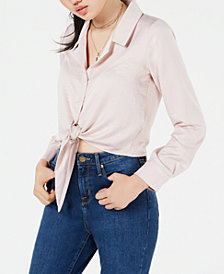 Love, Fire Juniors' Button-Front Tie-Hem Shirt
