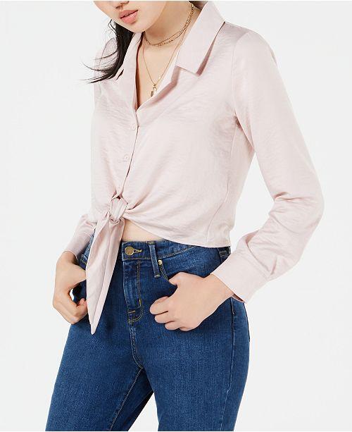 Love, Fire Juniors' Button-Front Tie-Hem Shirt