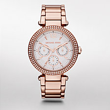 Michael Kors Women's Parker Rose Gold-Tone Stainless Steel Bracelet Watch 39mm