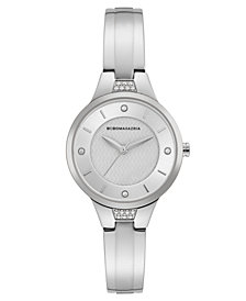 BCBG MaxAzria Ladies Silver Bangle Bracelet Watch with Silver Dial, 32MM
