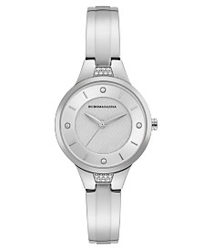 BCBGMAXAZRIA Ladies Silver Bangle Bracelet Watch with Silver Dial, 32mm
