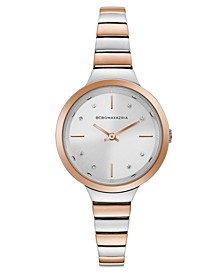 Ladies Two Tone Rose GoldTone Bracelet Watch with Silver Dial, 34mm