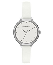 Ladies White Leather Strap Watch with White Dial with Silver Case, 34mm