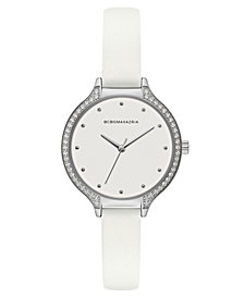 BCBG MaxAzria Ladies White Leather Strap Watch with White Dial with Silver Case, 34MM